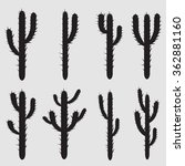 black silhouettes of cactus ... | Shutterstock .eps vector #362881160