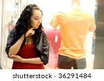 girl looking at - stock photo