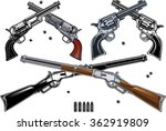 guns  revolver and rifle set of ... | Shutterstock .eps vector #362919809