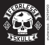 Skull Fearless Typography  T...
