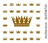 set of golden vector crowns and ... | Shutterstock .eps vector #362938724