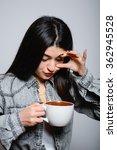 eastern brunette girl drinking...   Shutterstock . vector #362945528