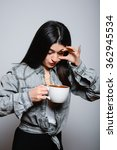 eastern brunette girl drinking... | Shutterstock . vector #362945534