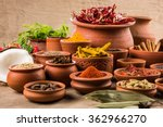 indian spices in terracotta... | Shutterstock . vector #362966270