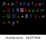 neon alphabet letters  a to z | Shutterstock . vector #36297838
