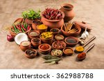 indian spices in terracotta... | Shutterstock . vector #362988788