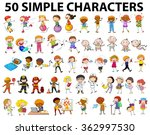 fifty simple characters young... | Shutterstock .eps vector #362997530