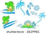 sketchy surfer set vector... | Shutterstock .eps vector #3629981