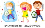 children with shield and sword... | Shutterstock .eps vector #362999408