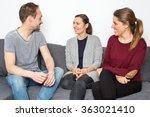 man talking with two women | Shutterstock . vector #363021410