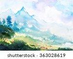 spring mountain watercolor... | Shutterstock . vector #363028619