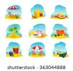 beach icons set  | Shutterstock . vector #363044888