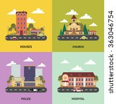 urban landscape 4 flat icons... | Shutterstock . vector #363046754