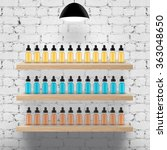 vapor bar shelfs with bottles | Shutterstock . vector #363048650