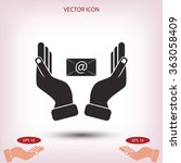 hand and envelope icon