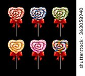 colorful  lollipops. watercolor ... | Shutterstock .eps vector #363058940