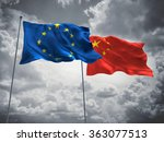 european union   china flags... | Shutterstock . vector #363077513
