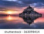 Le Mont Saint Michel At Sunset...