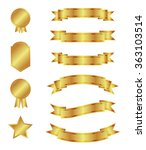 set of golden ribbons and... | Shutterstock .eps vector #363103514