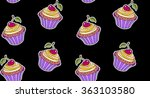 doodle cupcake pattern with... | Shutterstock .eps vector #363103580