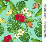 Tropical Flowers And Leaves On...