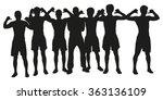 group of men holding hands up... | Shutterstock .eps vector #363136109
