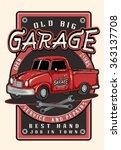 vintage garage retro poster.red ... | Shutterstock .eps vector #363137708