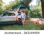 young beautiful women friends... | Shutterstock . vector #363144404