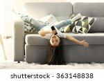 cute little girl singing in a...   Shutterstock . vector #363148838