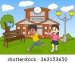 children catching a butterfly...   Shutterstock .eps vector #363153650