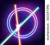 Two crossed Light swords. Red and blue sword in the night sky. Neon swords and neon circles in space. Flash contact. Vector illustration
