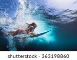 young girl in bikini   surfer... | Shutterstock . vector #363198860