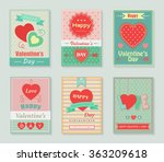 happy valentines day retro cards | Shutterstock .eps vector #363209618