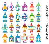 set of 24 ramadan lanterns _... | Shutterstock .eps vector #363211544