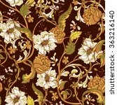 vintage floral baroque seamless ... | Shutterstock .eps vector #363216140