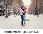 young couple hugging and... | Shutterstock . vector #363224168