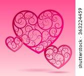 pink paper decorative hearts ... | Shutterstock .eps vector #363224459