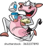 Cartoon Of A Cow Running With...
