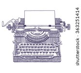Retro Typewriter Vector Drawing
