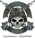 skull with army helmet crossing ...