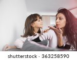 young mother and daughter... | Shutterstock . vector #363258590