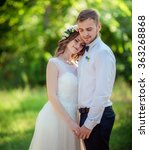 bride and groom on their...   Shutterstock . vector #363268868