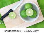 lemons in a bowl   knife on... | Shutterstock . vector #363272894