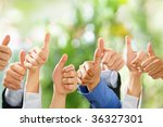 thumbs up from diverse group of ... | Shutterstock . vector #36327301