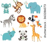 Stock vector set of cute animals isolated on white background 363286073