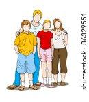 portrait of caucasian family... | Shutterstock . vector #36329551
