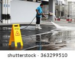 caution wet floor banner and... | Shutterstock . vector #363299510