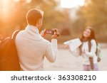 young beautiful couple tourists ... | Shutterstock . vector #363308210