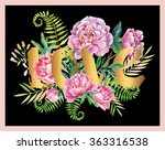 watercolor love frame with... | Shutterstock . vector #363316538