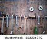 set of old tools on grunge... | Shutterstock . vector #363336740